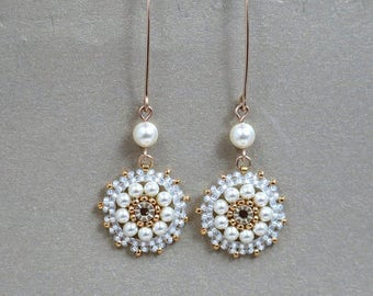 Long Swarovski Pearl Bridal Wedding Gold Dangle Earrings