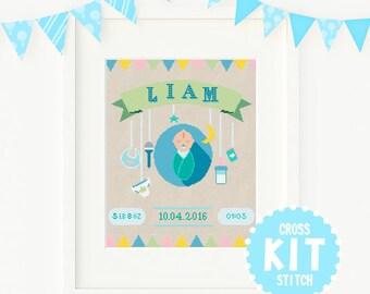 New Baby Cross Stitch KIT,  Baby Boy Cross Stitch Kit, Customisable Cross Stitch Kit, Custom Cross Stitch Kit