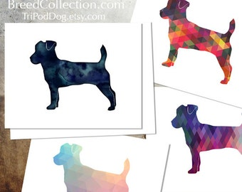 Jack Russell Terrier - Dog  Silhouette Note Card Collection -  Digital Download Printable