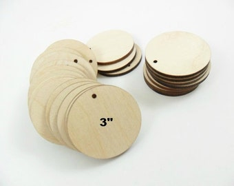 "Wood Circle Earring Blanks Pendant 3"" (7.6cm) x 1/8"" (.3cm) Thick Laser Cut Wood Shapes - 12 Pieces"