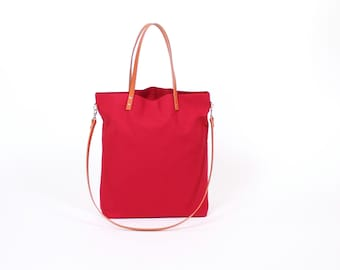 "Canvas Bag ""greta"" dark red//Bordeaux roses with leather handles"
