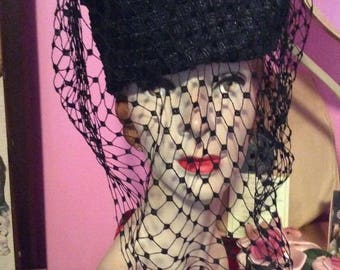 Vintage 1930s 1940s Hat Black Straw With Veiling Makers label Is Flo Lill Models Old Hollywood Drama