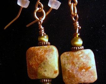 Earrings, 1in, Red, Autumn Jasper, Copper, Green   4159A