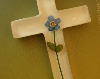 Real Miniature Flower - Forget me Not set in silver cross - religious flowers christian catholic family blue slide pendant plant grow Alaska