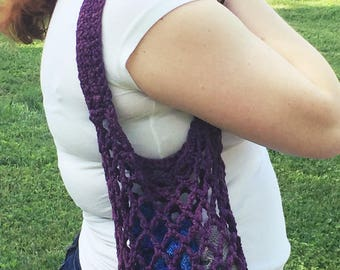 CLEARANCE - Royal Purple Market Bag // Mesh Flea Market Tote // Reusable Cotton Grocery Bag // Mesh Beach Tote