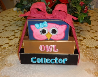 Owl Wooden Collector Blocks,, Home Decor, Owl Decor,, Saying Blocks,,,