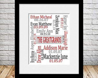 Great Grandparent Gift, Gift for Grandparents, Great-Grandchildren Names and Birthdates, Great-Grandparents Christmas Gift