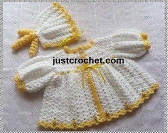 Puff Sleeve Coat and Bonnet Baby Crochet Pattern (DOWNLOAD) 100