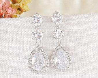Crystal Bridal Earrings, Wedding Earrings, Rose Gold, Teardrop Halo Dangle Earrings, Drop Earrings, Vintage Style Bridal Jewelry, LUCY
