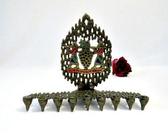 Mid Century Brutalist Brass Menorah by Hen Honlon  - 1950s Judaica Collectible - Jerusalem Israel Hanukkah Candle Holder