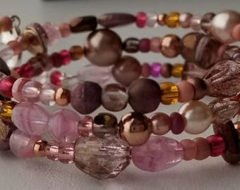 Antique Rose Beaded Bracelet/Memory Wire/One Size Fits Most/Pink/Brown/Copper