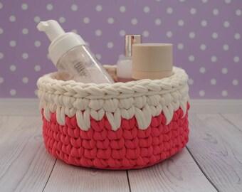 Crochet coral basket for Home decor Crochet storage basket Crocheted bowl Bathroom storage  t-shirt yarn basket Nursery decor gift basket