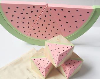 Watermelon blocks, watermelon toy, wooden blocks, baby blocks, pink watermelon, watermelon shelf decoration, nursery shelf decoration,