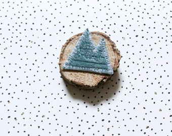 Brooch mountain green corduroy with water, shape mountain brooch, brooch boho brooch