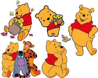 Winnie The Pooh  - Cutting Files and Clipart Svg Png Eps Jpg Dxf Digital Graphic Design Instant Download Commercial Use