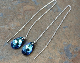 Bermuda Blue Pear Drop Briolette Threader Earrings - dark aqua Swarovski crystal teardrops on sterling silver ear threads- free shipping USA