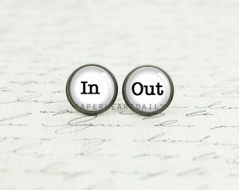 In Out Earrings - In and Out - Word Earrings - Book Lover Earrings - Teen Girl Gifts - Jewelry for Teens - Teen Jewelry -  (H5580)