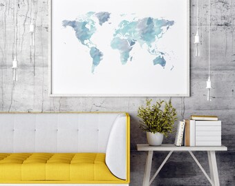 World map decor etsy watercolor world map print blue world map wall art world map poster world map art map of the world world map decor gumiabroncs Image collections