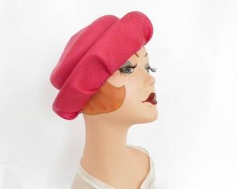 Woman's pink straw hat, vintage tilt fuchsia, bullock's