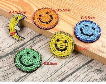 5pcs 4-5.5cm wide moon happy face Rhinestones beads stones shoes bag socks brooch appliques patches E51B110O0828R free ship