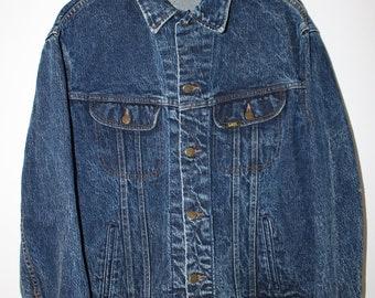 Lee Jeans Jacket Vintage 90s Blue Acid Wash Size Large
