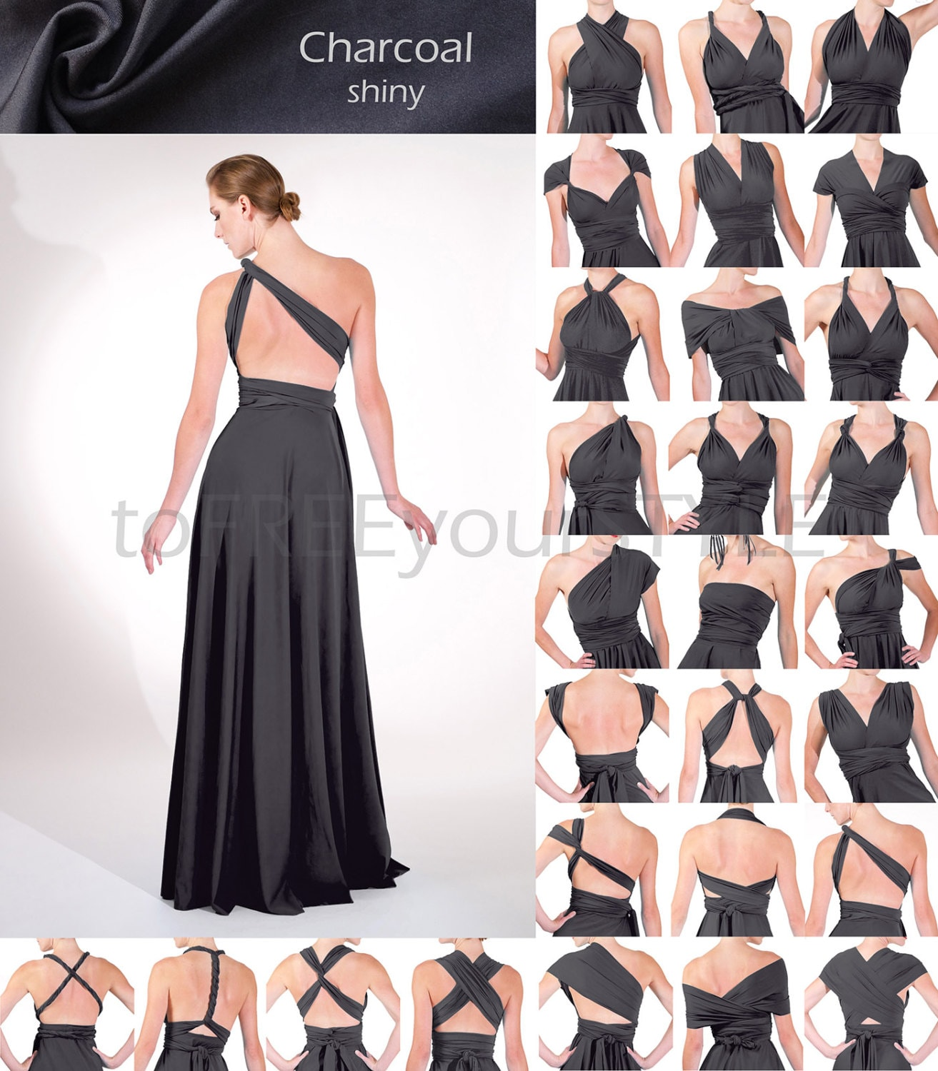 Long infinity dress in charcoal grey gray shiny full zoom ombrellifo Gallery