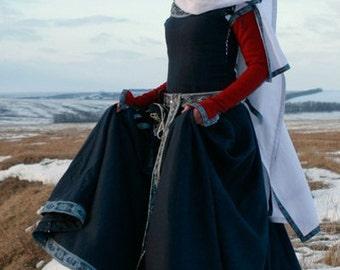 "Womens Medieval Dress ""Red Sleeves""; historic dress; sca dress; wool dress"