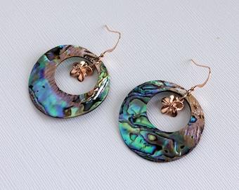 Abalone Plumeria Hoops, Paua Frangipani Hoops, Rose Gold Plumeria Earrings, Gold Frangipani Earrings, Hawaiian Earrings, Tropical Earrings