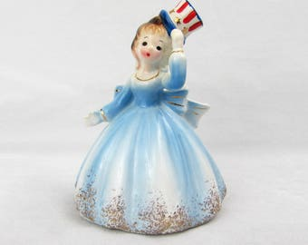 Josef Originals Bicentennial Liberty Belle Figurine ~ Wearing Uncle Sam Hat - 1976