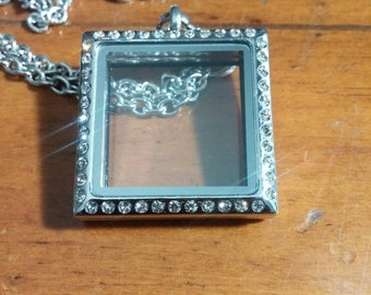 30%OFFSALE Silver Square Stainless Steel Memory Locket with Rhinestones 1-1/8 Inches - x 1-1/8 Inches