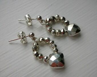 Silver Pyrite Earrings - Sterling Silver