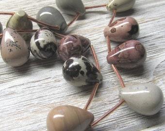 Perles de jaspe assorties 18 X 13mm lisse Multi marbré et Briolettes pleines - 10 pièces de couleur