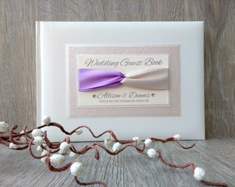 Wedding Guest Book Personalised Engagement Anniversary Birthday Bridal Journal Entwined Ribbons Lilac Ivory