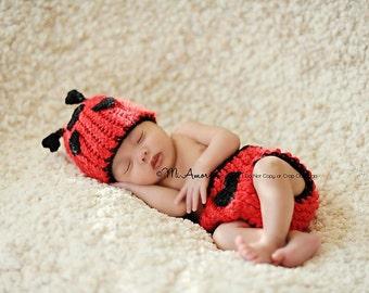Love Bug- Lady Bug  beanie and diaper cover newborn beanie- photo by Mi Amor Photography