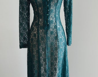 BOHEMIAN LACE MAXI Dress Emerald Green Long Sleeves
