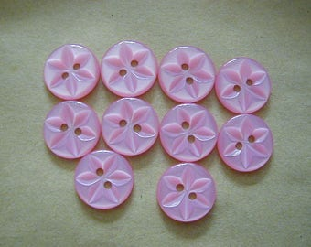 10 Round Pink Star Buttons 16mm