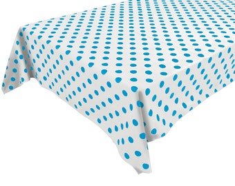 Cotton Table Cloth Polka Dots / Spots Turquoise on White