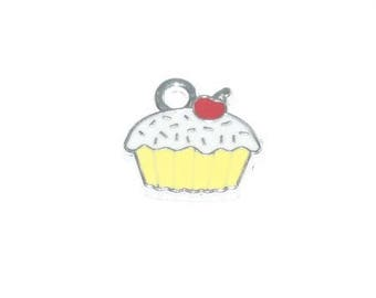 Red white yellow enamel cupcake charm