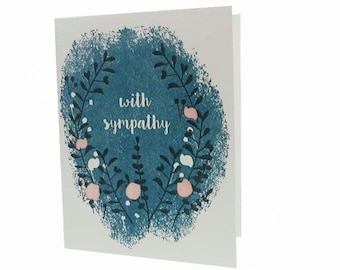 "A2 129 Night garden ""With Sympathy"" letterpress card"