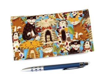 Cutest Cats Checkbook Cover for Duplicate Checks, Pen Holder, Brown and Tan Cats on Blue Cotton Fabric, Cheque Book Cover, Check Book