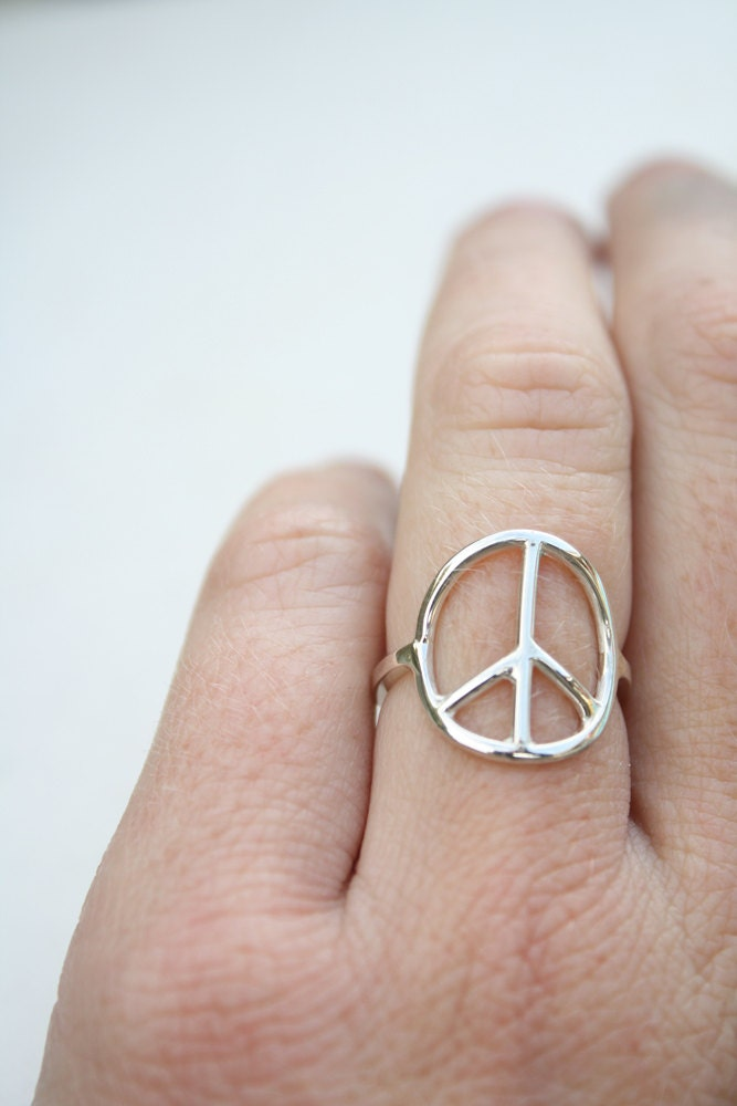 Peace Sign Ring Sterling Silver Ring Delicate Ring Feminine