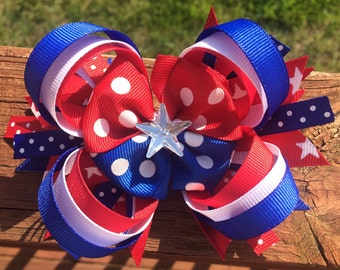 "5"" Red, White, Blue, Stars, Stripes and polka dots Loopy Stacked Patriotic hairbow. Memorial Day, July 4th, Independence Day, USA hairbow"