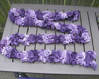 Hand knit Purple Ruffle Scarf