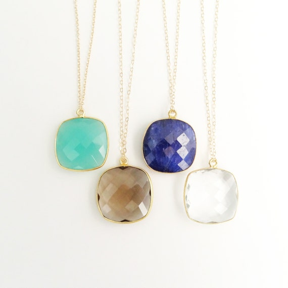 Square Framed Gemstone Pendant Necklace