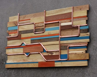 Large Wall Art | Abstract Copper network | Steam Punk | Sculpture | Reclaimed Wood | Office art | Abstract art | Tube Ride |