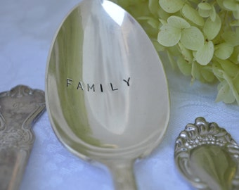 Silverplate FAMILY serving spoon.  Hand stamped on vintage silver plate spoon.  Thanksgiving, hostess or Christmas gift