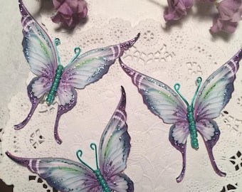 Fanciful Flight Purple and Teal Glass Bodied Butterflies DarlingArtByValeri Set  Scrapbooking Embellishment Mini Albums Cards Wedding Gifts