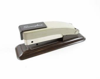 Swingline Stapler Vintage Small Two Tone Brown Desk Accessory Office Supply Made In U.S.A.