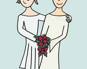 Happy Wives -  greetings card reproduced from an original drawing by Susannah Jeffries