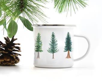 Evergreen Camp Mug / Camp Mug / Oregon Mug / Evergreen Tree Mug / Pacific Northwest Mug / Camping Mug / Oregon Gifts / Camp / Cast Iron Mug
